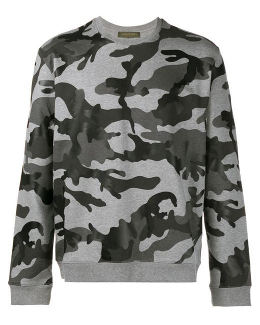 fbdc928ab Valentino - Gray Camouflage Printed Cotton Sweatshirt for Men - Lyst ...