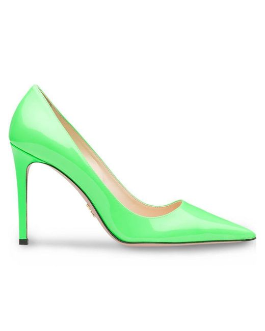 Prada - Green Patent Leather Pumps - Lyst