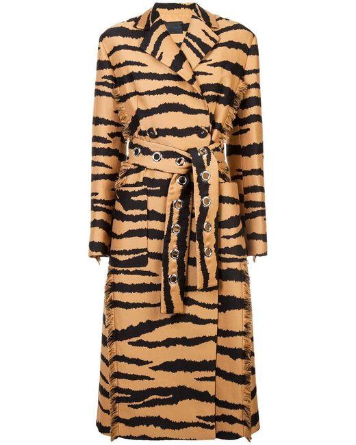 Proenza Schouler - Brown Tiger Jacquard Belted Coat - Lyst