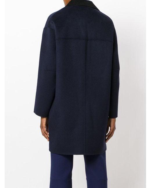 Powder Blue Oversized Boucle Coat