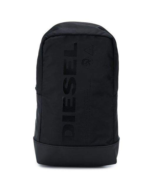 DIESEL - Black Logo Print Backpack for Men - Lyst ... 72caaf8f2b03a