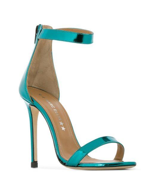 353f18d4f08 ... Marc Ellis - Blue Metallic Ankle Strap Sandals - Lyst ...