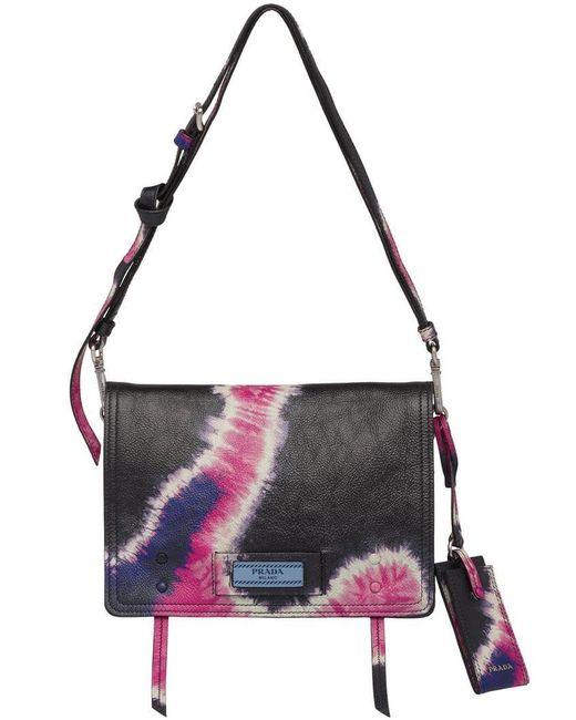 98794f96c160 Prada - Black Etiquette Bag With Tie-dye Print - Lyst ...