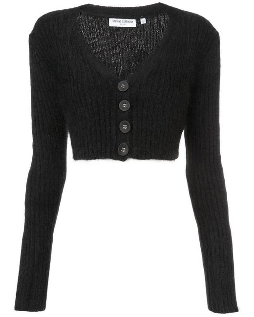 Opening Ceremony - Black Cropped Rib Cardigan - Lyst