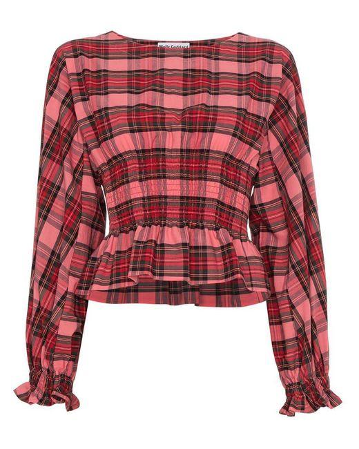 e06fd18518498 Molly Goddard Tartan Smocked Long Sleeve Top in Pink - Save 62% - Lyst
