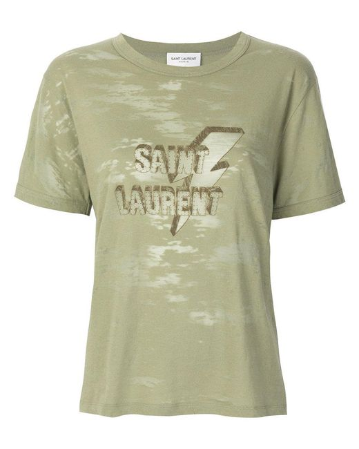 logo patch T-shirt - Green Saint Laurent Shop Offer Online Clearance Sale Outlet Big Discount qqB0zA
