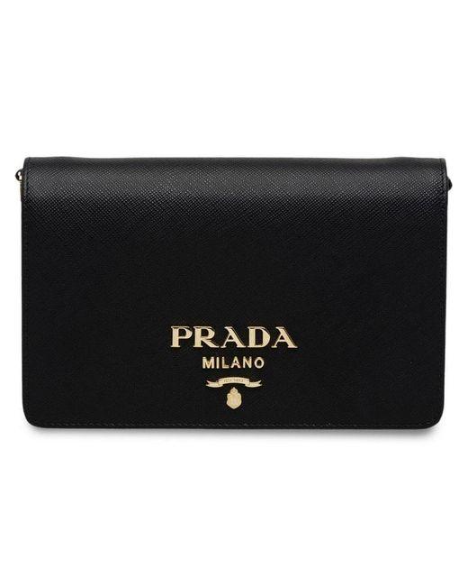 f7b899712fc7 Prada - Black Saffiano Leather Shoulder Bag - Lyst ...