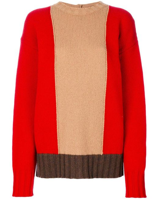 Marni - Red Oversized Colour Blocked Sweater - Lyst