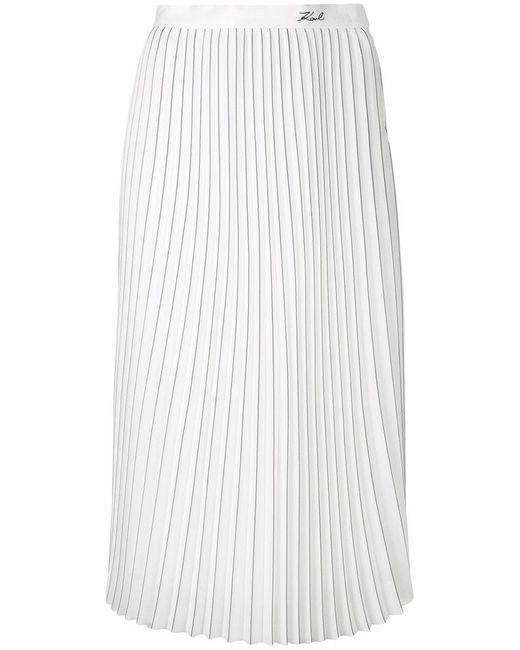 Karl Lagerfeld - White Pinstripe Pleated Skirt - Lyst