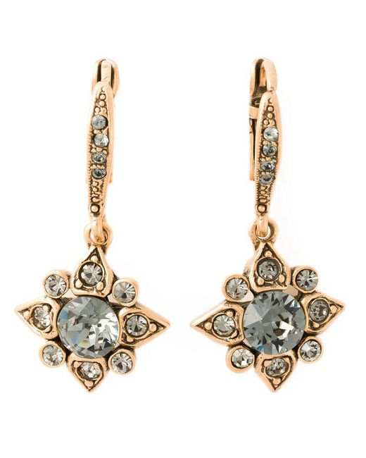 Oscar de la Renta - Gray Star Crystal Earrings - Lyst