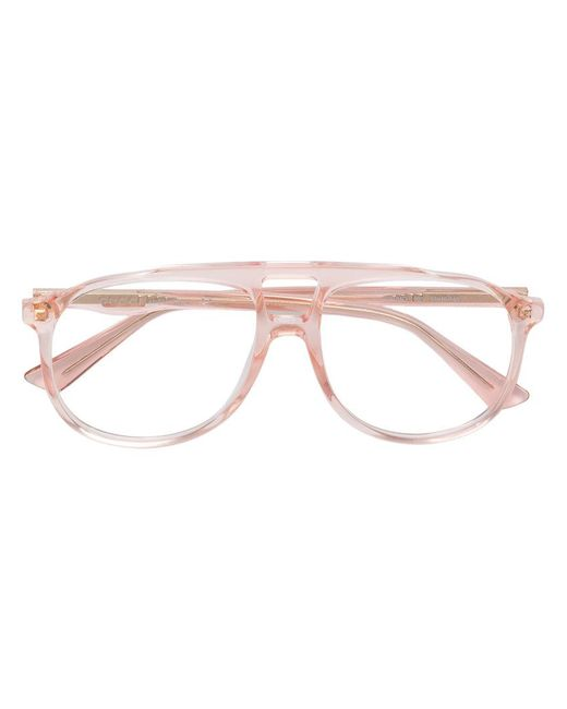 Gucci - Pink Aviator Glasses - Lyst