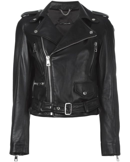 Manokhi - Black Cropped Biker Jacket - Lyst