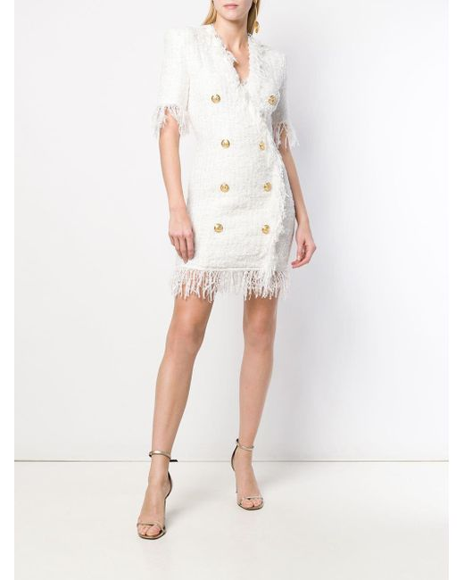e008da12 Balmain Fringe Tweed Mini Dress in White - Save 2% - Lyst