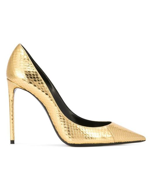 Saint Laurent - Zoe Metallic Snakeskin Pumps - Lyst