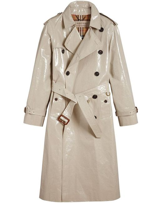 Burberry - Natural Laminated Trench Coat - Lyst
