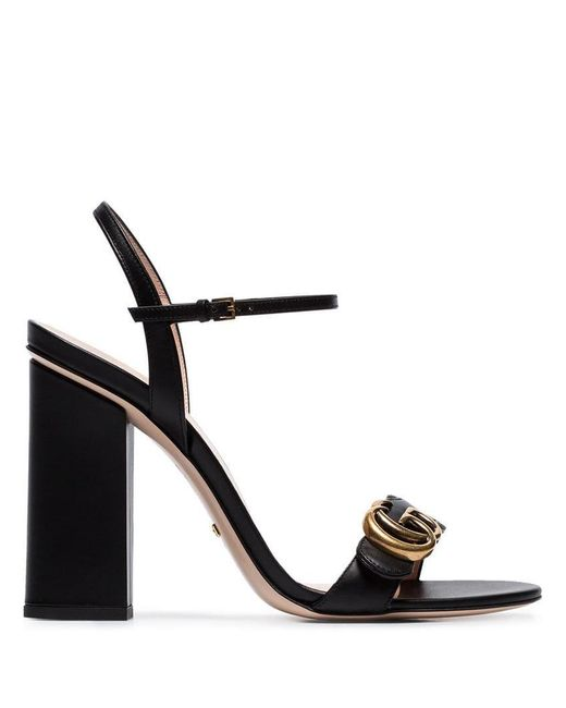 57badc9400c Gucci - Black Marmont 110 Chunky Heel Leather Sandals - Lyst ...