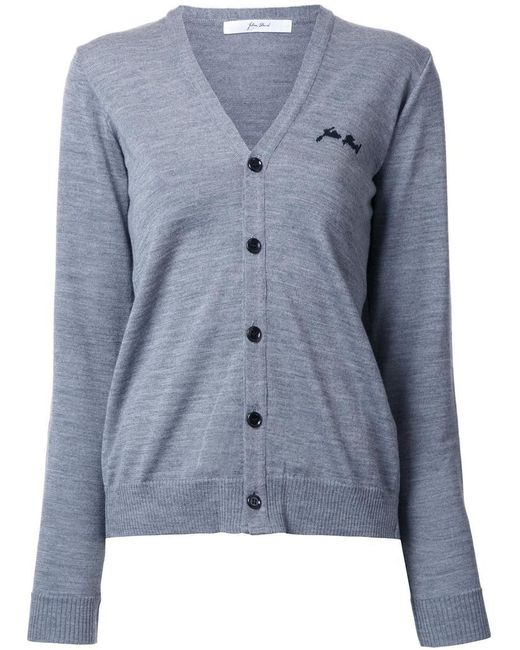Julien David - Gray V-neck Cardigan - Lyst