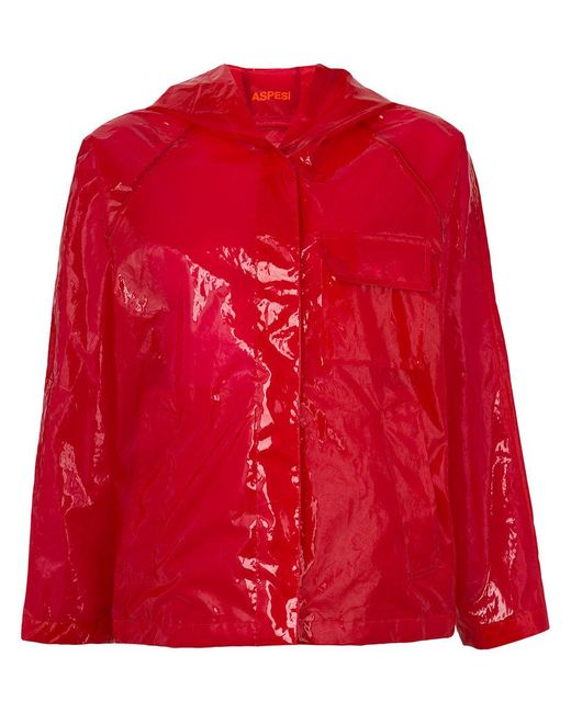 Aspesi - Red Translucent Rain Jacket - Lyst