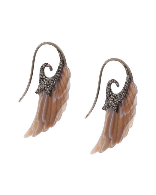 Noor Fares | Black Fly Me To The Moon Wing Earrings | Lyst