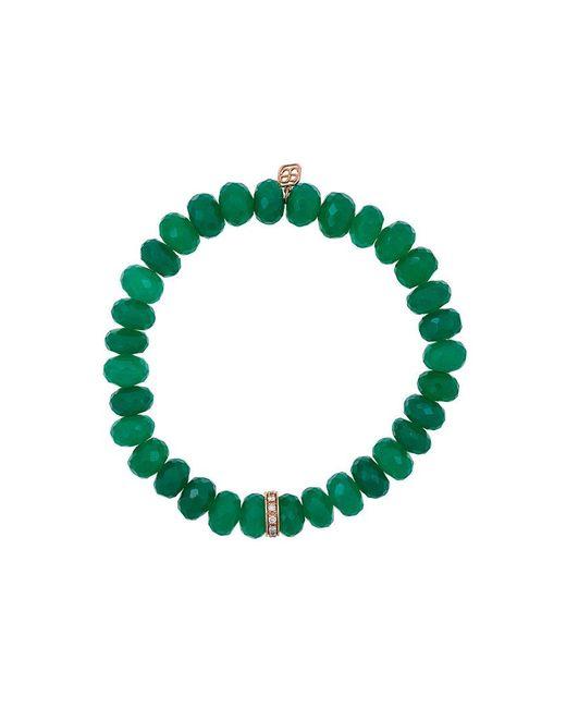 Sydney Evan | Green Onyx Beaded Bracelet With Diamond Wheel Rondelle Charm | Lyst