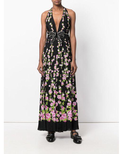 17c20824d ... Gucci - Black Halter Floral Print Maxi Dress - Lyst ...