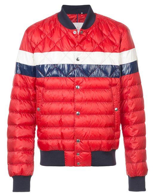 Moncler - Red Striped Padded Bomber Jacket for Men - Lyst ...