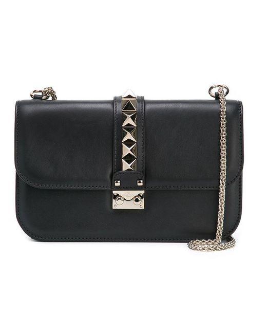 Valentino   Black Glam Lock Leather Shoulder Bag   Lyst