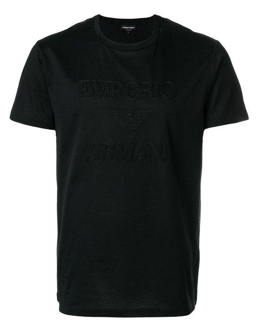Emporio Armani | Black T-shirt Con Logo Ricamato for Men | Lyst