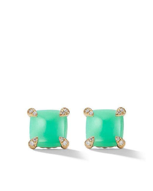 David Yurman - Green 18kt Yellow Gold Châtelaine Chrysoprase And Diamond Stud Earrings - Lyst