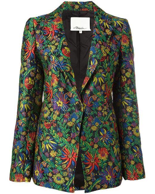 3.1 Phillip Lim | Green Floral Cloqué Blazer | Lyst