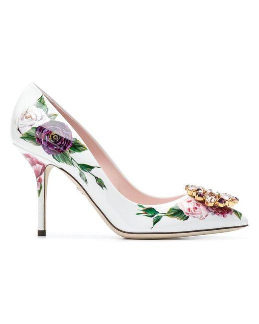 Dolce & Gabbana - White Bellucci Peony Print Pumps - Lyst