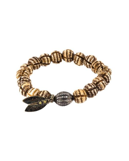 Loree Rodkin | Metallic Bead Diamond Ball And Feather Bracelet | Lyst