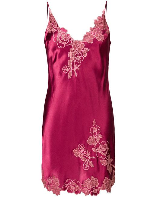 Carine Gilson | Pink Lace Detail Chemise | Lyst