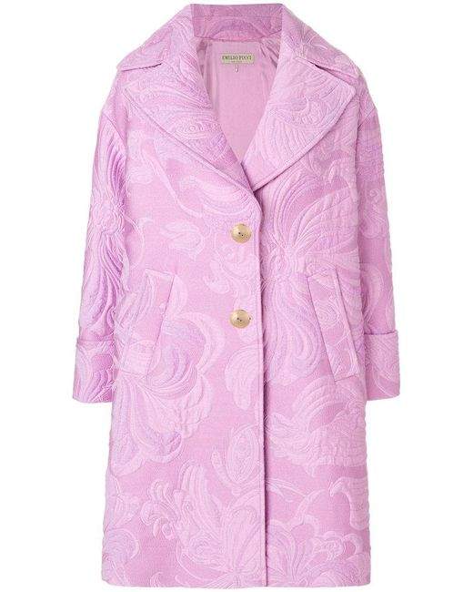 Emilio Pucci | Pink Jacquard Coat | Lyst