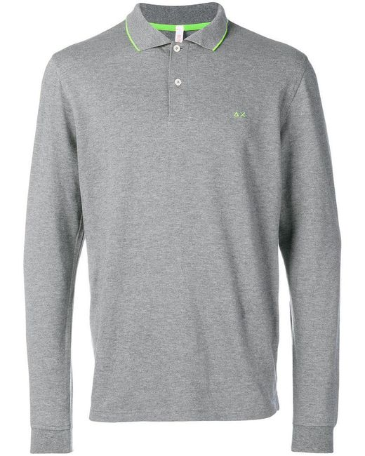Sun 68 - Gray Longsleeved Polo Shirt for Men - Lyst