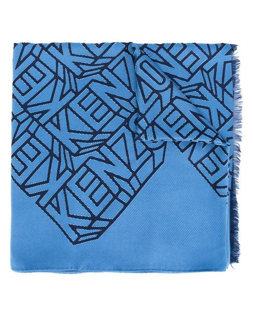 KENZO - Blue Embroidered Scarf - Lyst
