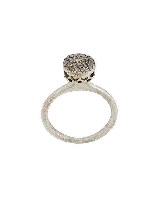 Rosa Maria - Metallic Diamond Circular Ring - Lyst