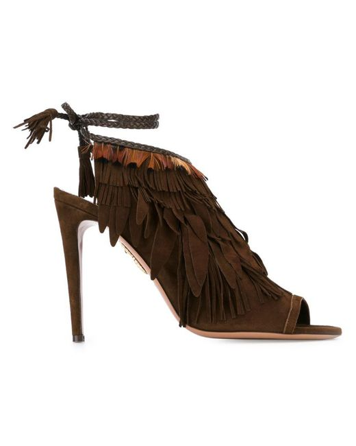 Aquazzura | Brown 'pocahontas' Sandals | Lyst