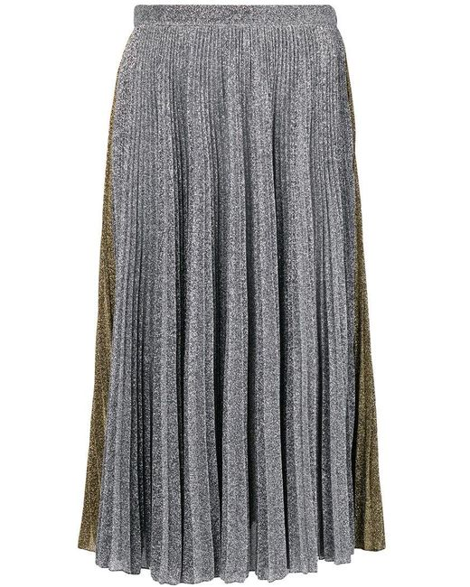 Philosophy Di Lorenzo Serafini - Gray Two-tone Metallic Pleated Skirt - Lyst