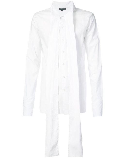 Ann Demeulemeester - White Tie Neck Oversized Shirt for Men - Lyst