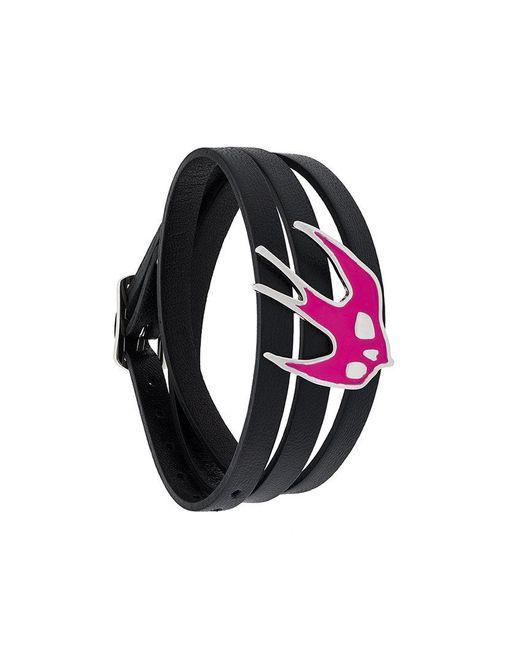 McQ Alexander McQueen - Black Triple Strap Swallow Bracelet - Lyst
