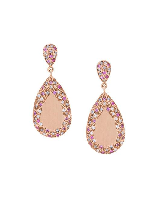 Carolina Bucci - Metallic Pave Frame Pear Cut Earrings - Lyst