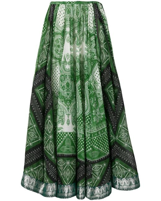 Etro - Green Signature Printed Skirt - Lyst