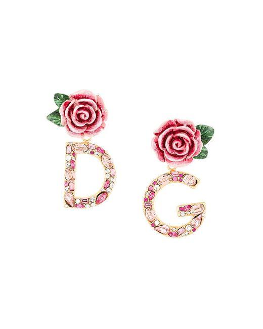 Dolce & Gabbana | Multicolor Dg Rose Drop Earrings | Lyst