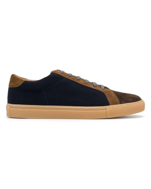 Eleventy - Blue Suede Panel Lace Up Sneakers for Men - Lyst