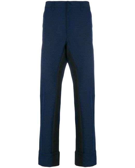 Prada - Blue Contrasting-stripe Trousers for Men - Lyst