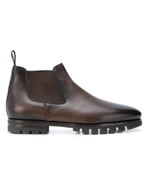 Santoni - Brown Low Chelsea Boots for Men - Lyst