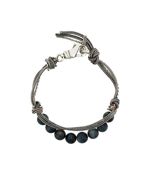 Emanuele Bicocchi - Metallic Beaded And Woven Bracelet for Men - Lyst