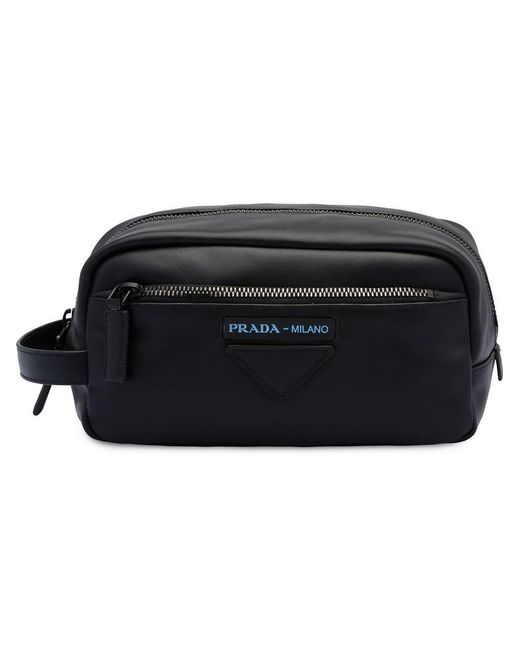 3202f7cbd Prada - Black Logo Wash Bag for Men - Lyst ...