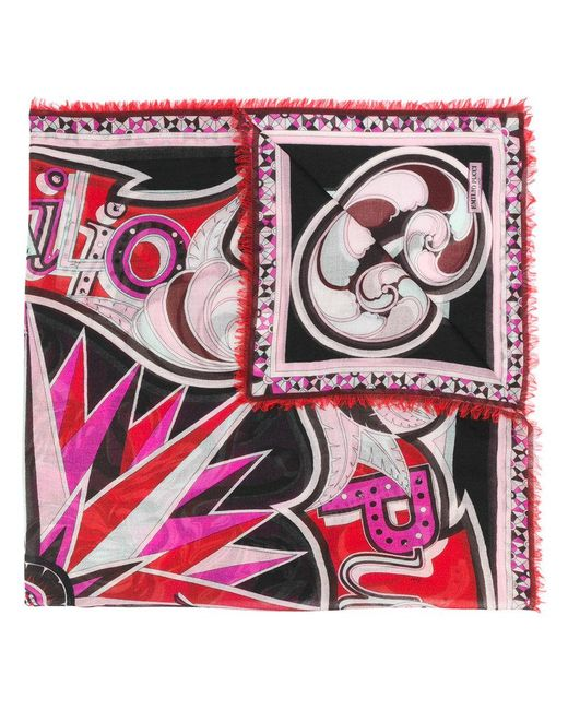 Emilio Pucci - Pink Printed Scarf - Lyst